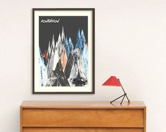 poster radiohead, prints kid a, thom yorke poster, art rock, britpop poster, music wall art, cover poster, radiohead poster, mountain poster
