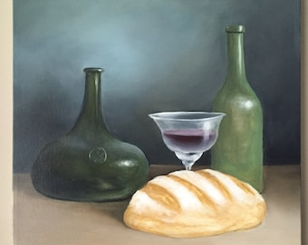Red Wine Art Bread Art Original Still Life Wine Painting Colorful Painting Traditional Painting Kitchen art food painting oil on canvas