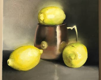 Lemon Mule Wall Art Original Oil Painting Fruit Wall Art Food Lemon painting Fruit Kitchen Painting Lemon Painting Kitchen Decor Art Moscow