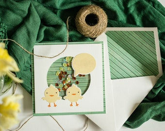 Easter shaker card, cute chicks, customizable, handmade card, for kids