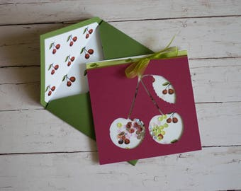 Cherries card, Shaker card, Handmade, For every occasion