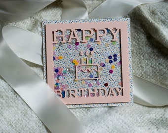 Colorful birthday shaker card with cute cake cutout, for her, for him, birthday card, shaker card, handmade