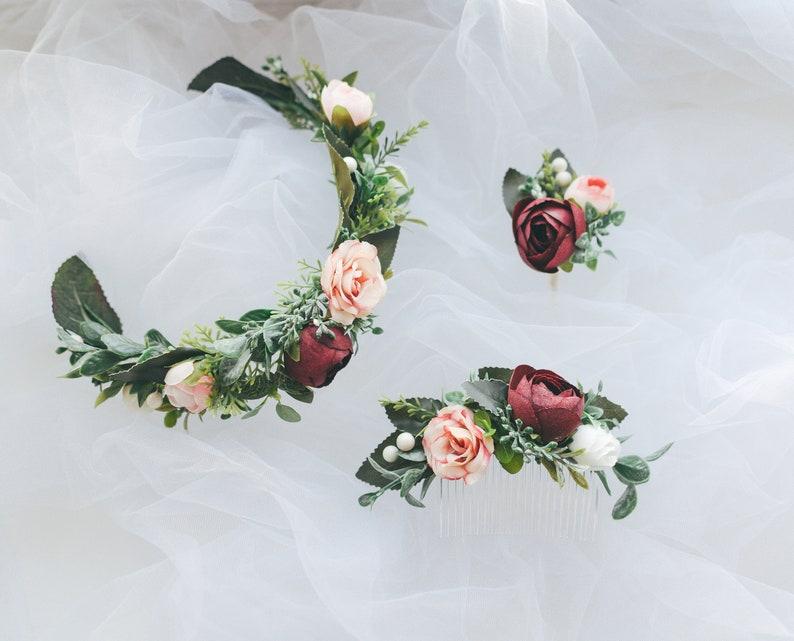 Flower vine Flower hair piece Boutonierre Bridal comb Wedding hair accessories set Burgundy blush Flower hair comb Greenery hair comb