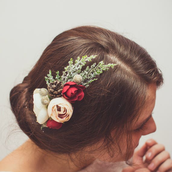 Flower hair comb Greenery hair comb Wedding