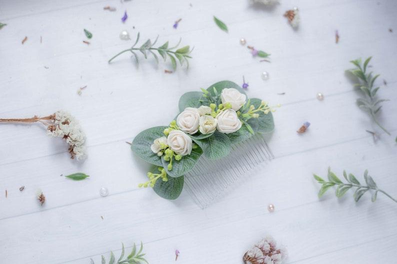 Wedding hair accessory Flower hair comb Greenery hair comb Bridal headpiece Eucalyptus hair comb Greenery headpiece Wedding hair pin