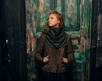 Scarf hoodie / green hood  /  hood and scarf /  green scarf /  winter scarf / hood cowl / scarf with hood / Hooded scarves women