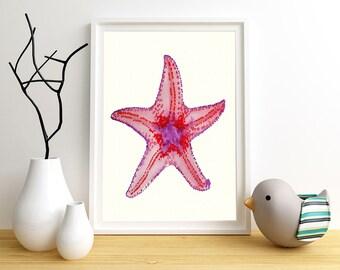Starfish Art, Kids Starfish Art, Starfish Print, Nautical Kids Art, Ocean Wall Art, Nursery Beach Art, Kids Beach Art, Kids Prints