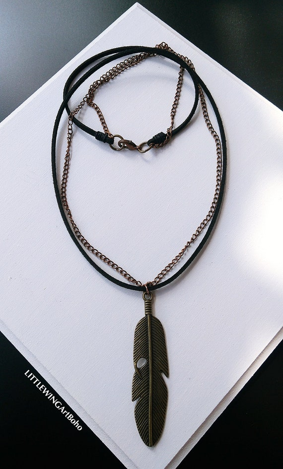 Leather Necklace For Men  Men Leather Necklace  Bohemian Necklace  Black Leather Necklace  Men/'s Pendant Necklace  Feather Necklace