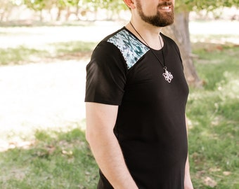Men's or unisex crew neck top, sewn in piece of a glossy snake skin print, soft fabric, made to order, Marie Nohr, Maluxe