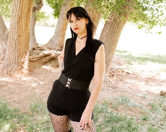 Black Romper, Pick your inseam, Polyester spandex, Belt and fishnets not included, Maluxe by Marie Nohr, Handmade, Made to order
