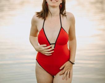 Red Swim Suit, one piece, black trim, handmade, Marie Nohr, Maluxe, plus sizes coming soon