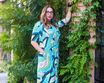 Teal and yellow patch work geo print, Aline dress, pockets, half sleeves, made to order, Marie Nohr, Maluxe