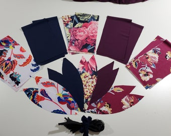 DIY Scrunchie kit, Floral package, 3 prints 2 each, navy and plum 2 each. 10 scrunchies,