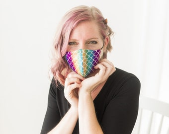 Pick your color Mermaid or Dragon scale mask, 3 layers, adult or youth sizes, Not medical grade