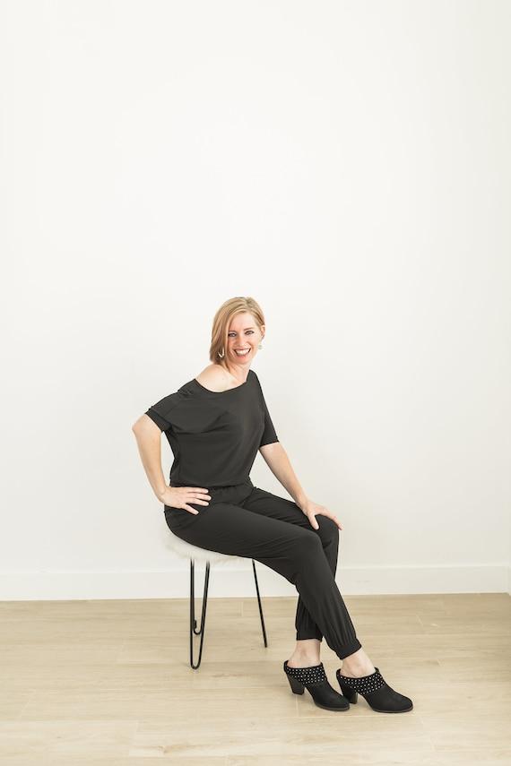 Jumper Handmade Customized fit Black Jumpsuit V- neck back