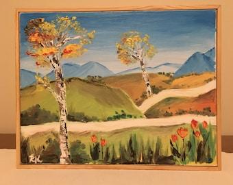 Landscape Fall Birch Trees Painting Oil Original