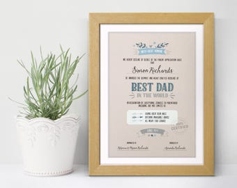 Personalised Father's Day Art Print - Best Dad Grandad Personalised Certificate