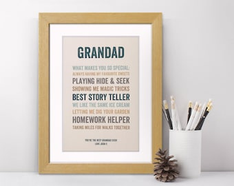 Personalised Father's Day Print - Gift For Grandfather - Endearing Grandad Art Print