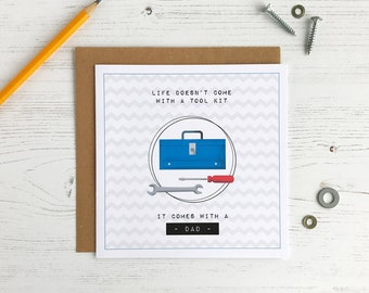 Toolbox Father's Day Card -DIY Dad - Funny Card For Dad - Life Doesn't Come With A Tool Kit