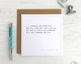 Funny Father's Day Card - Typographical Card - Funny Card For Dad - Dad's Hopes