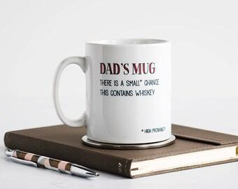 Dad's Mug Funny Personalised Gift - May Contain Alcohol - Dad Personalised Mug - Father's Day Personalised Mug