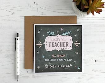 Personalised Teacher Card - Thank You Teacher - World's Best Teacher