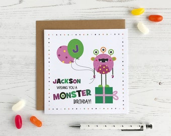 Personalised  Monster Birthday Card - Birthday Boy Card - Monster Card