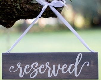 Wedding Reserved Sign - Rustic Wedding Decor - Hanging Reserved Signs - Chair Reserved Signs - Gray Wedding - Reserved Signs Wood