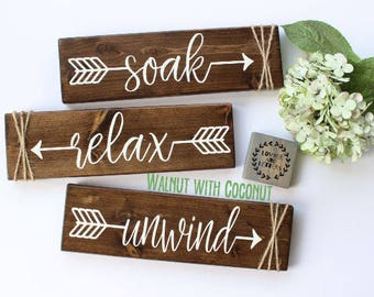 Bathroom Wall Decor Relax Soak Unwind Farmhouse Bathroom Signs Rustic Bathroom Decor - Bathroom Signs Wood - Bathroom Arrow Decor