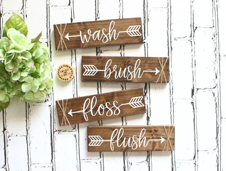 Genial Wash Brush Floss Flush   Bathroom Wall Decor   Farmhouse Bathroom   Rustic  Bathroom Decor   Bathroom Signs Wood   Bathroom Arrow Decor