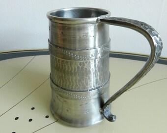 Mid-century handmade pewter beer mug Wiik Norway / rustic hammered engraved cup with handle / Norwegian pewter drinkware medieval tankard