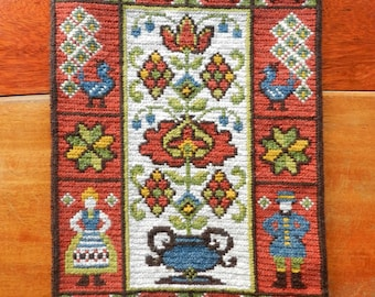 Vintage Swedish embroidered wall hanging folklore man woman flowers peacocks / handmade wool embroidery with hanger / Scandinavian folk art