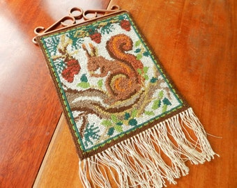 Vintage embroidered wall hanging squirrel / Swedish wool twist stitch embroidery with copper hanger fringes / Scandinavian autumn home decor