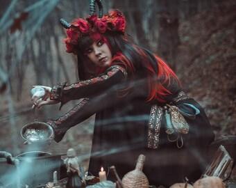 Witch dress, black fantasy dress, larp costume, larp dress, witch costume, medieval fantasy dress