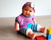 Crochet pattern doll clothes, little doll dress and leggings
