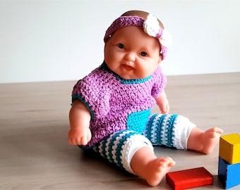 Häkelanleitung Leggins mit Lila Kleidchen für kleine Puppen, 30-35 cm, Puppenkleidung, Puppensachen, Anziehsachen für Puppen