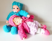 Twins Luis and Luana, Doll 11 inch, Crochet Pattern, Doll jacket, Doll Dress