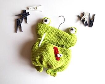 Wäscheklammerbeutel Frosch, grüner Frosch, Wäscheklammer Beutel, Klammerbeutel häkeln, Frosch häkeln