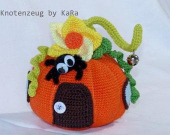 Door Stopper Pumpkin Fairies Cottage, Crochet Pattern, Türstopper Kürbis Feenhaus, Häkelanleitung