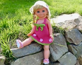 """Summer dress """"Peaches"""", doll clothes for 15"""", 17"""" and 19"""" dolls, suitable for beginners, crochet pattern"""