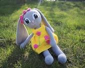 """Crochet Pattern Rabbit """"Henriette"""" in yellow dress, 18 inch tall"""