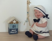 """Sailor dress """"Mary"""", doll clothes for dolls from 12"""" to 19"""", suitable for beginners, crochet pattern"""