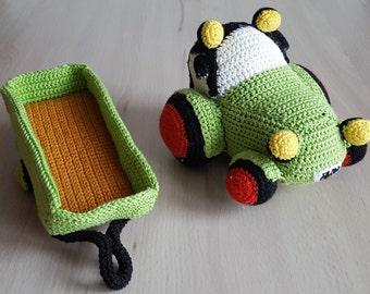 Traktor mit Anhänger, Häkelanleitung, Fahrzeug häkeln, Bauernhof häkeln