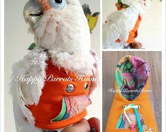 Orange-//Hoodie Birdie Pet Clothing Parrot Bird Hoodie for Cockatiel African Grey Eclectus Cockatoo  Amazon Macaw •••HappyParrotsHome•••