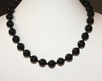Black Tourmaline and Black Spinel Classic Necklace