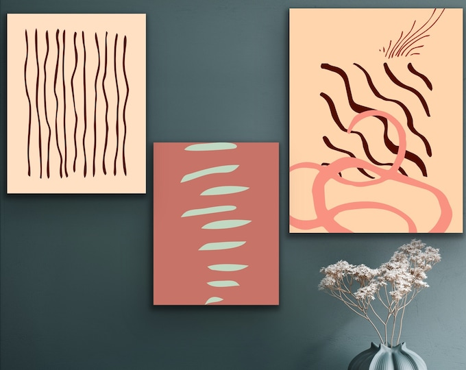 Downloadable Printable Set of three Abstract lines, Boho, Wall art decor, Printable, light colors,