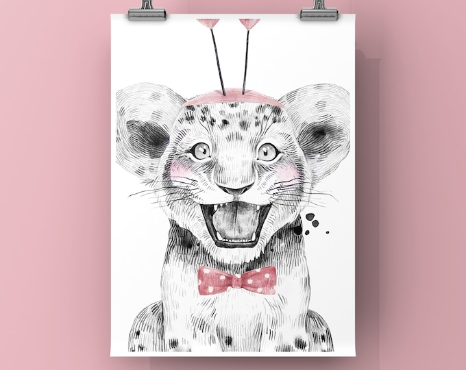 Safari Baby Tiger with Pink bow tie, Digital Print, Wall decor for baby nursery, kids room, birthdays or baby showers