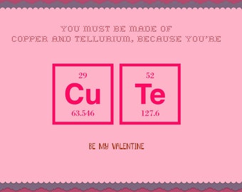 Valentine card with periodic table design, Cute 4x6
