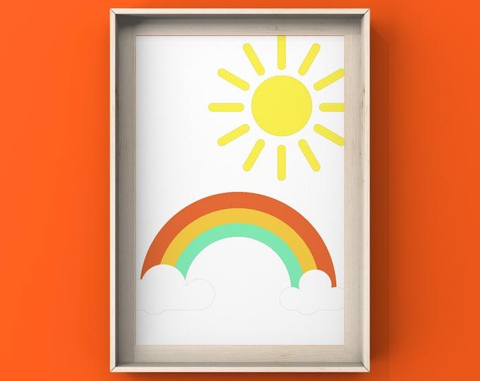 Sunshine & Rainbow Digital Print, Kids Room, Nursery,