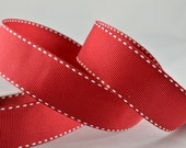 Red and white ribbon Bright Red, Rouge, lipstick red ribbon. bows wedding gifts hair bows 20 meters gift ribbon 25mm thick white side stitch